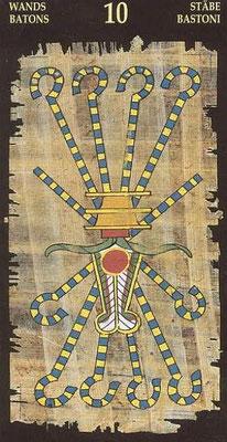 10 de Bâtons - Le tarot Égyptien
