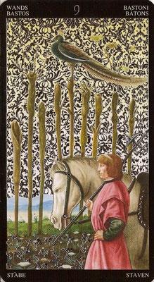 9 de Bâtons - Tarot Doré de Botticelli