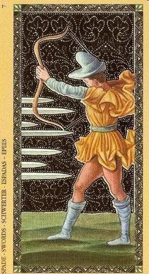 Golden Tarot of the Renaissance - 7 d'Épée
