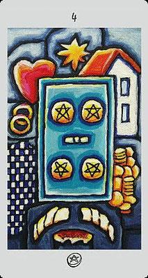 4 de Deniers - Langustl Tarot