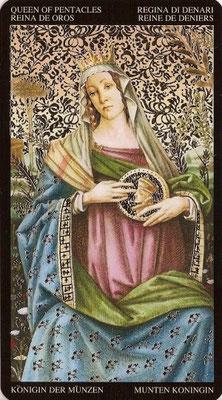Reine de Deniers - Tarot Doré de Botticelli