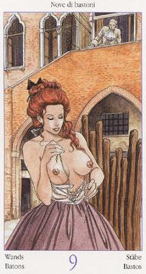 Tarot de Casanova - Érotique - 9 de Bâtons