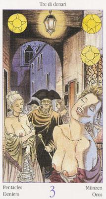 Tarot de Casanova - Érotique - 3 de Deniers