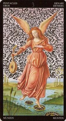 3 de Deniers - Tarot Doré de Botticelli
