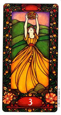 3 de Deniers - Le tarot Art Nouveau de Myers
