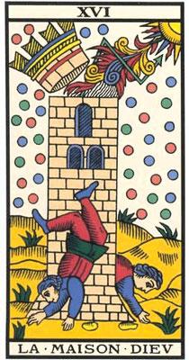 XVI La Maison-Dieu - Tarot de Marseille
