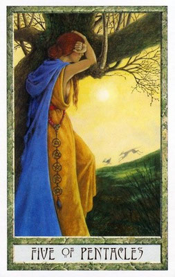5 de Pentacle - Le tarot Druid Craft