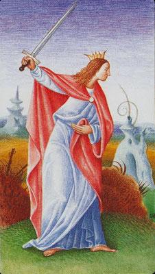 Reine d'Épées - Le tarot Bosh
