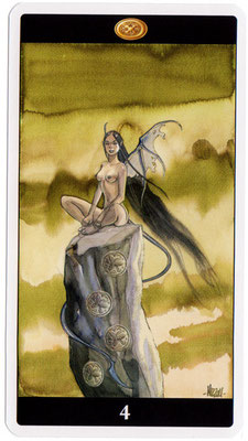 4 de Deniers - Le tarot de l'Enchanteresse des Rêves