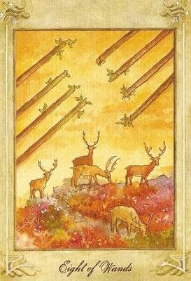 8 de Bâtons - Llewellyn Tarot