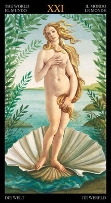 XXI Le Monde - Le tarot doré de Botticelli