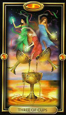 3 de Coupes - The Gilded Tarot