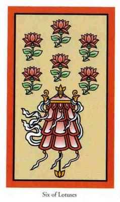 6 de Fleurs de lotus - Le tarot de Bouddha