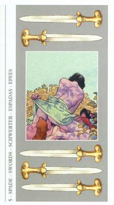 Decameron Tarot - Érotique - 5 d'Épées