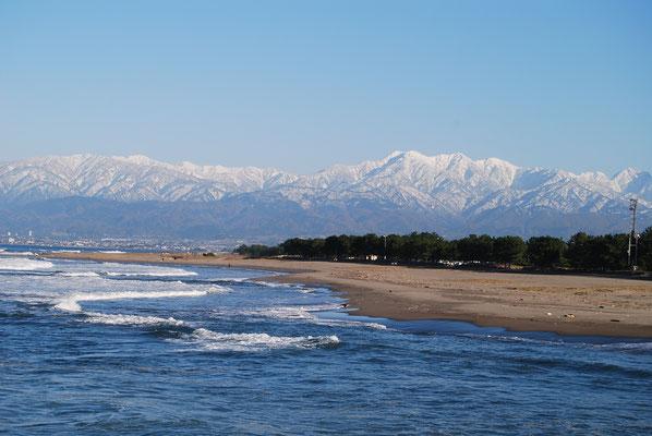 岩瀬浜から古志の松原、立山連峰を望む