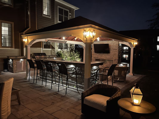 The life-like flickering flame effect of the LED wall sconces creates a warm and welcoming ambiance.  Franklin Lakes, NJ