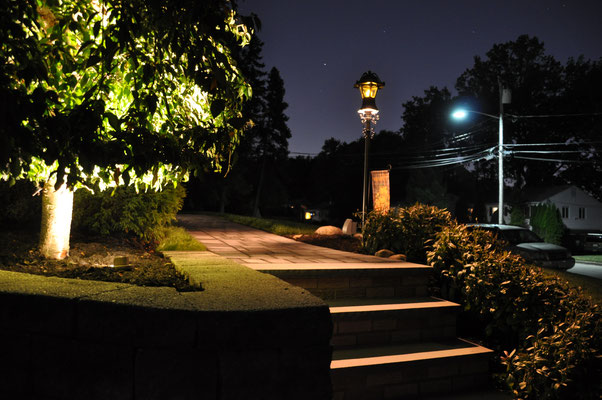 Cherry tree with well light uplighting and lamp post path / area lighting - Emerson, NJ
