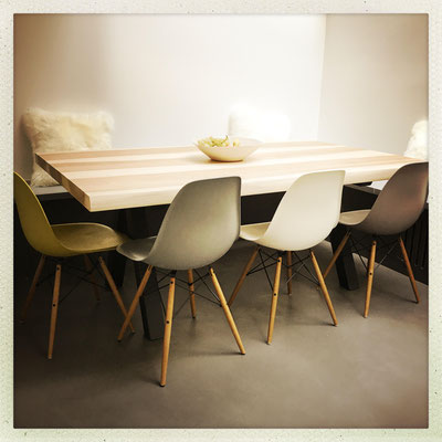 ARTMETA / Table Aubier 180 x 90 cm / Frêne olivier + Noir Fine texture