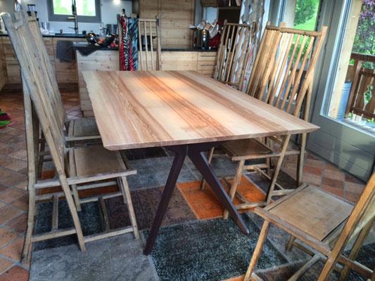 ARTMETA / Table Papillon 180 x 110 cm / Frêne olivier + Marron acajou