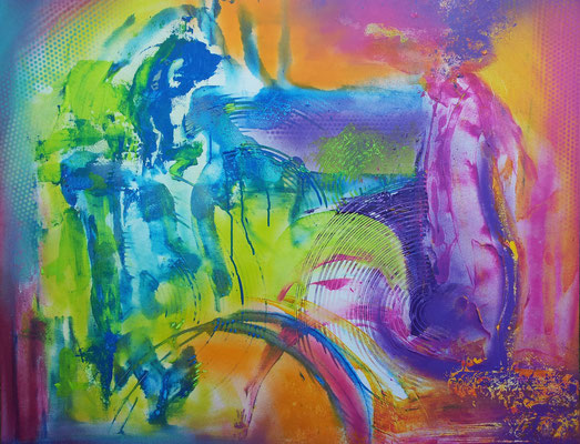"""""""Chaos""""  100 x 80 cm Sprühdose, Acryl, Spachtel"""