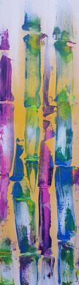 """Abstrakter Bambus""  30 x 100 cm Sprühdose, Acryl, Spachtel"