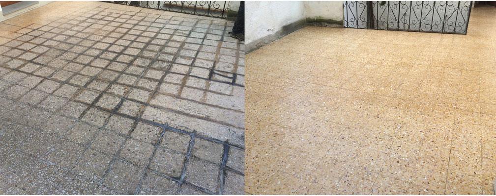 prima-dopo pulizia pavimento della terrazza