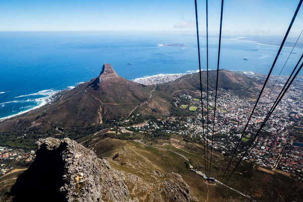 Capetown's Lion's Head seen from Table Mountain