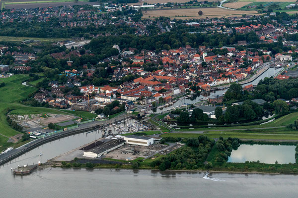 Aerial of Glückstadt at Elbe river