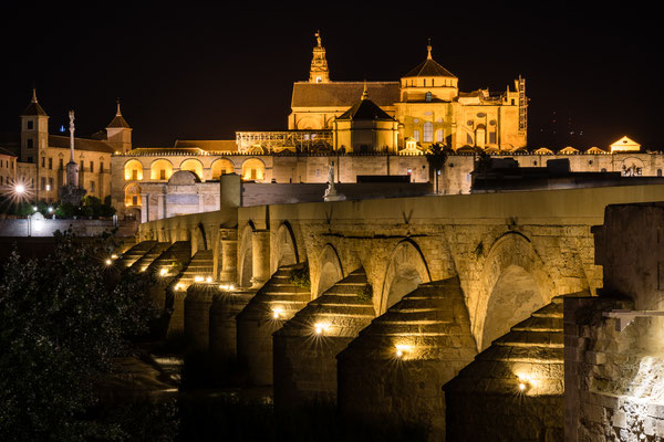 Puente Romano and Mezquita Cordoba at night