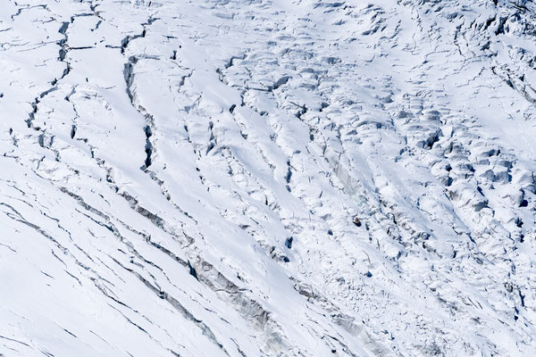 Close up of the many cracks of a steep glacier