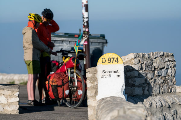Two cyclists on top Mont Ventoux, Provence