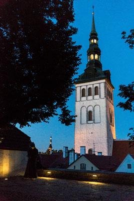 Church in Tallinn after sunset