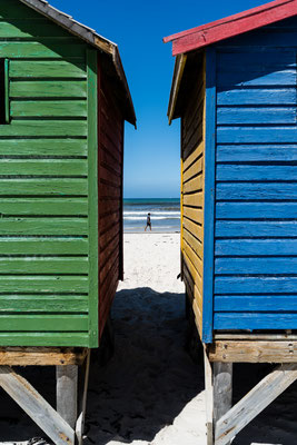 Close-up of the colourful beach houses of Muizenberg, South Africa