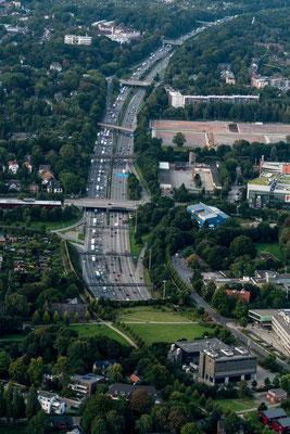 Aerial of A7 at Elbtunnel Hamburg