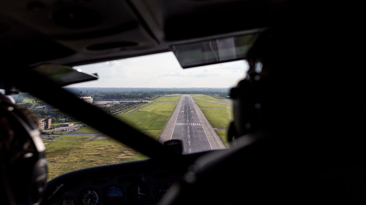 Aerial of Airbus Finkenwerder Airport off Cessna cockpit