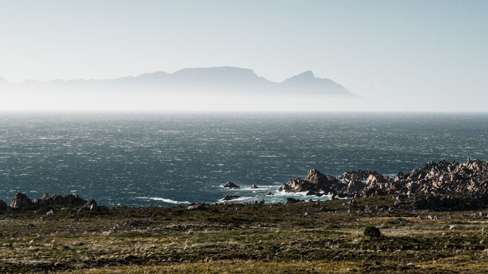 Looking over False Bay towards Table Mountain and Devils's Peak from Rooi-Els, South Africa