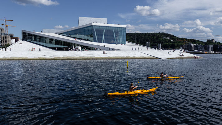 Kajaks in front of Oslo Opera House in Norway