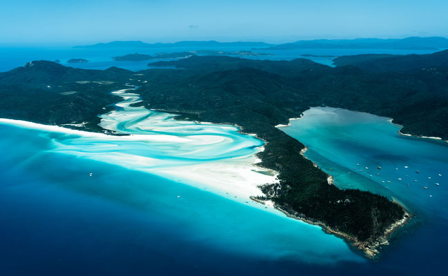 Aerial of Whitsunday Island in Australia