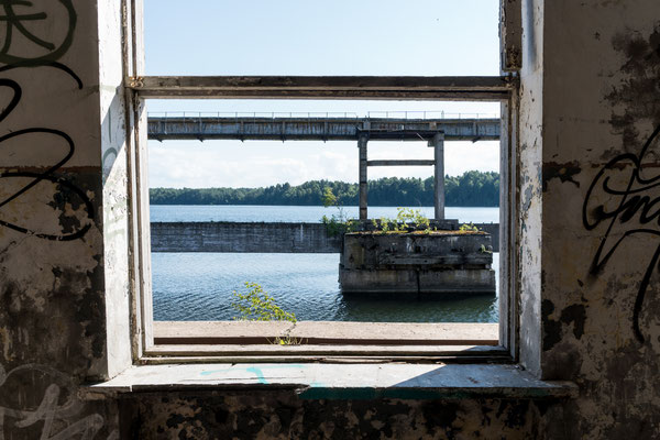 Window of old building at Hara Submarine Base
