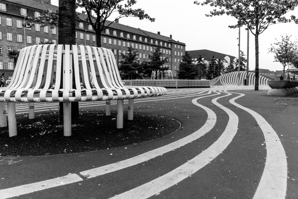 Chairs at Superkilen in Copenhagen's district Nørrebro
