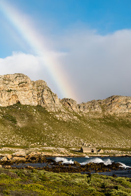 Rainbow over Rooi-Els seascape, South Africa