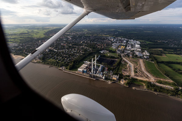 Aerial of power plant at Elbe river