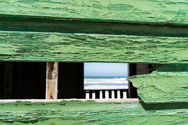 Close-up of a colourful beach house of Muizenberg, South Africa