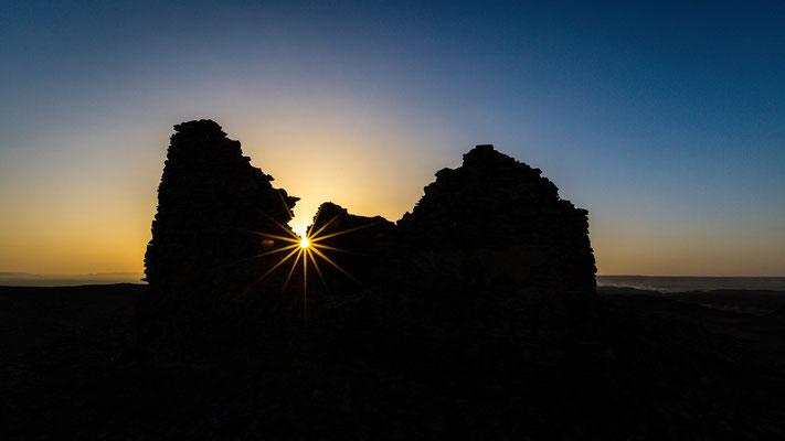Sun star at English mountain in Bahariya Oasis, Egypt