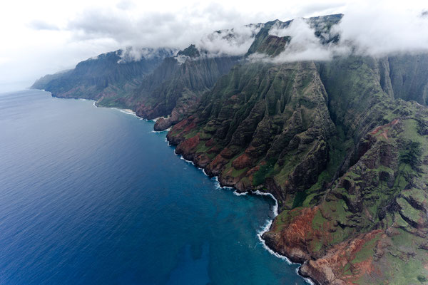 Aerial of Na Pali Coast in Kauai, Hawaii