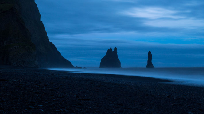 Reynisfjara black beach in Iceland during blue hour