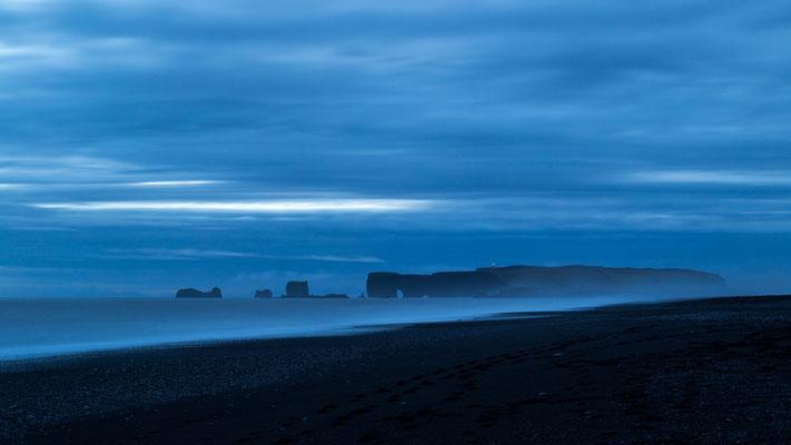 Reynisfjara black beach in Iceland during blue hour