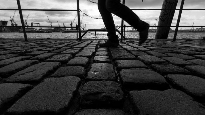 Cobble stone way at the Port of Hamburg