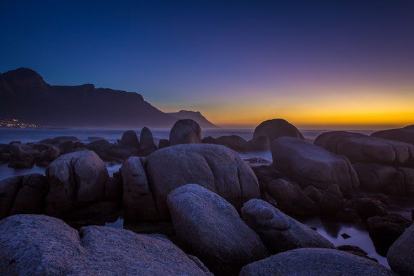 After sunset from Camps Bay boulders, South Africa