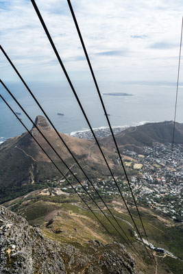Lion's Head seen from Table Mountain through the Cable car wire ropes